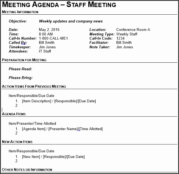 The second business meeting agenda template from Vertex42 has the same header as the outline template above but en passes the body in a table structure
