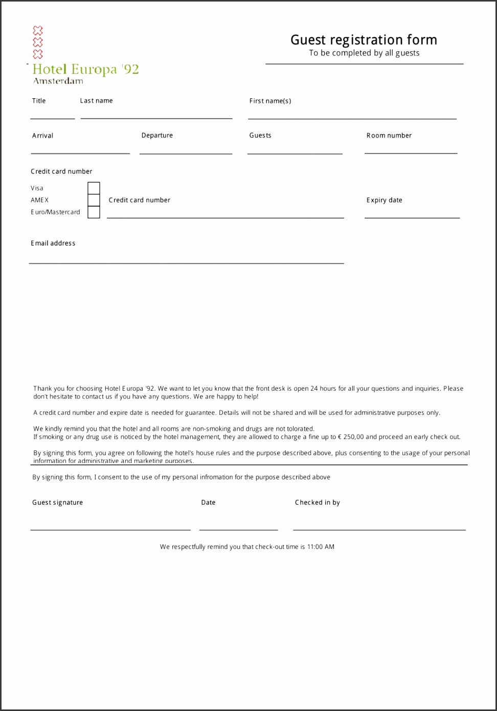 Hotel Registration Form Forms Patient Reservation Sample Doctml Template Free Download