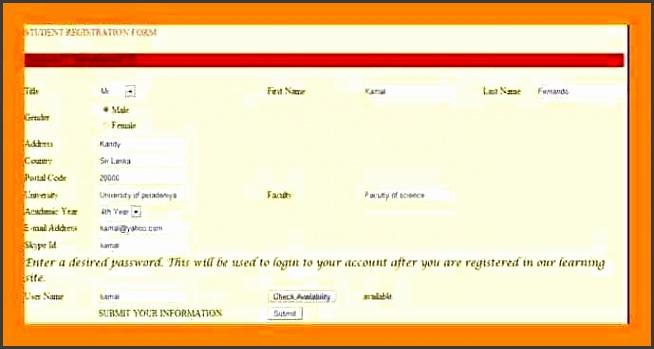 students registration form simple format