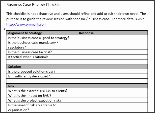 Example of PMO Business Case Review Checklist