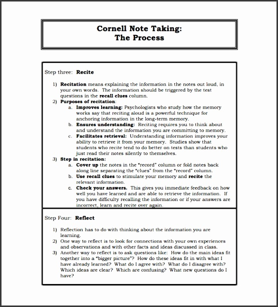 Cornell note taking template recent impression format