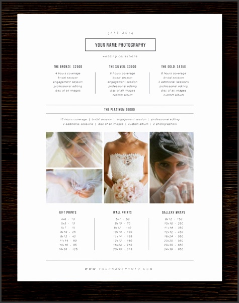 Price List Template grapher Pricing Guide Wedding Price List Branding & Marketing Designs m0180