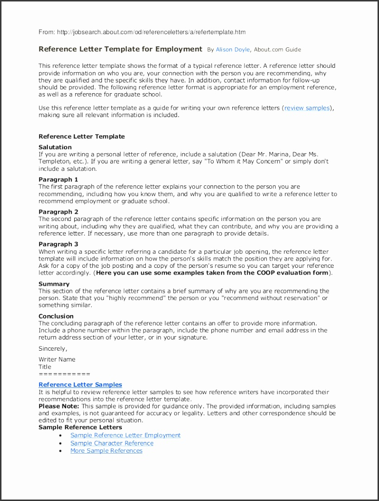 Sample Reference Letter Template for Employment