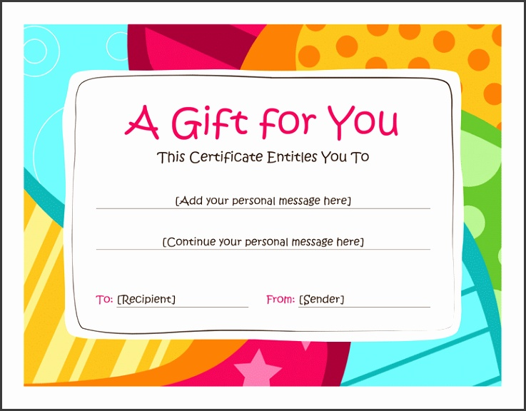 Birthday Gift Certificate Template Word 2010 Free Certificate Templates In Gift Certificates Category
