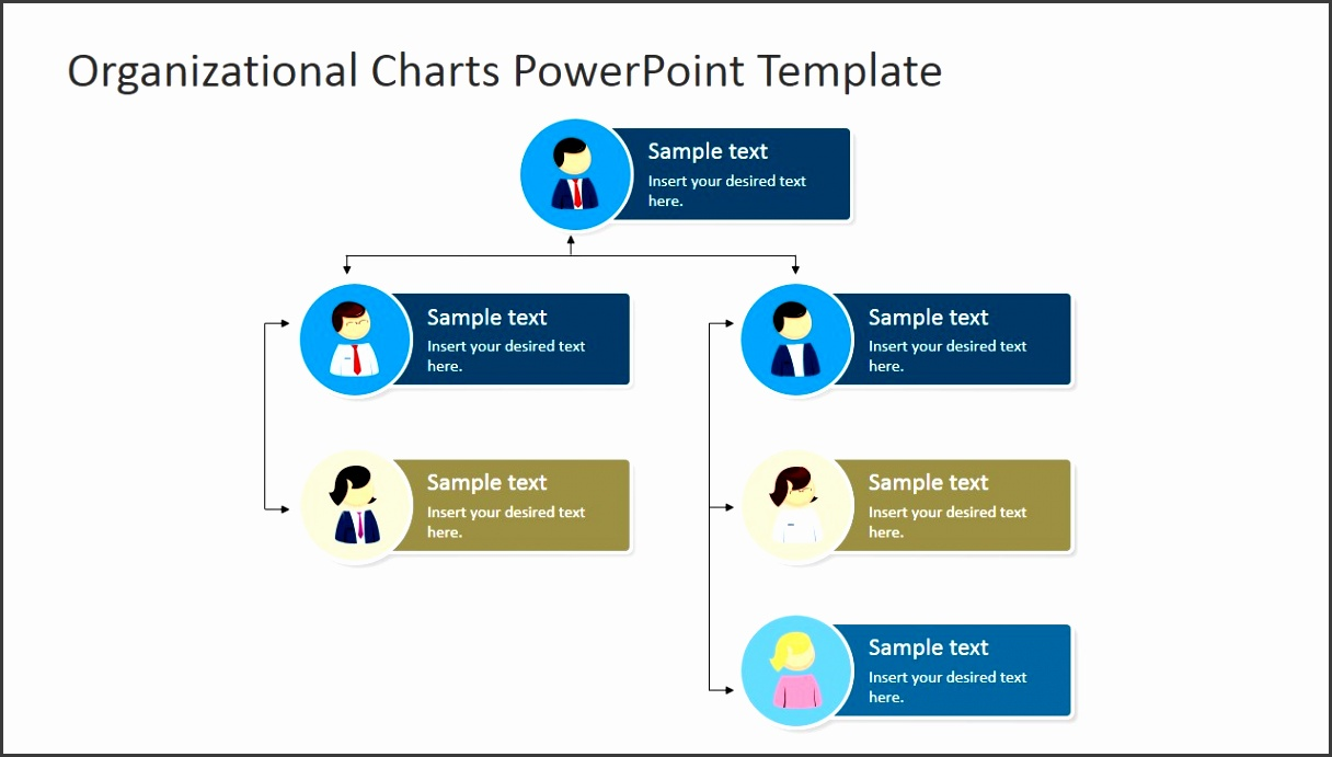 PPT Organizational Chart with Avatars PowerPoint Template