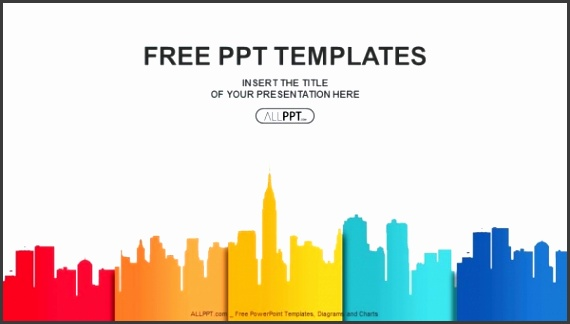 City buildings silhouettes and colors PowerPoint Templates 1