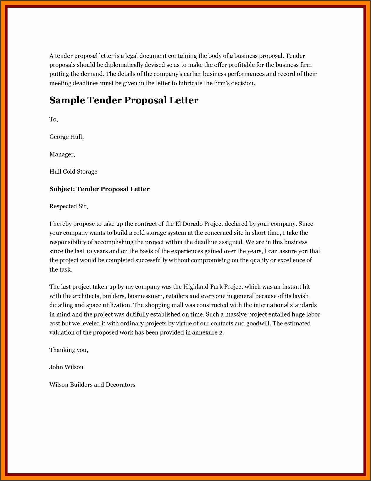 tender proposal letter sample lication for tender proposal tender sample
