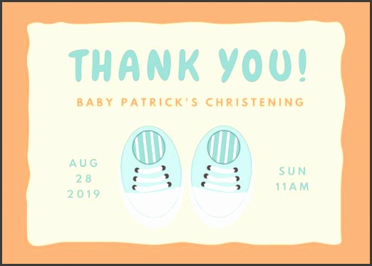 Blue Shoes Christening Thank You Card