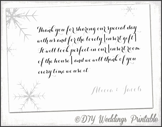 Snowflake Thank You Card Template Snowflake Winter throughout Wedding Thank You Note Template
