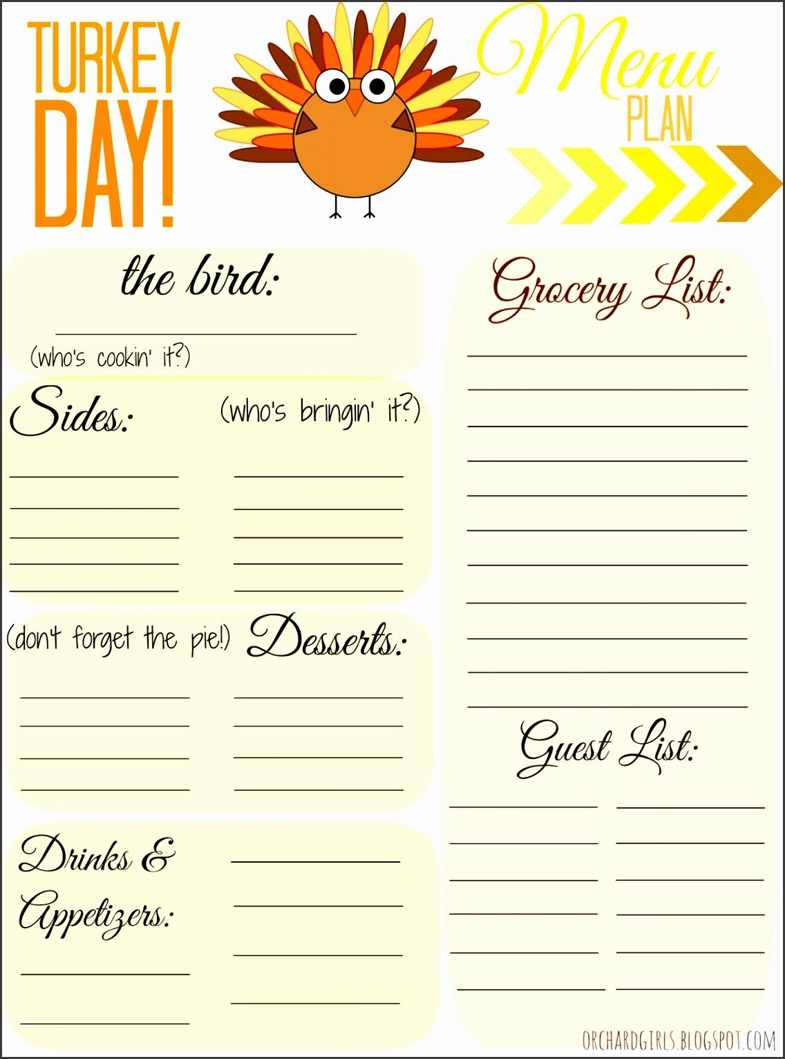 Full Size of Thanksgiving Thanksgiving Menu Planner Dinner Printable Template