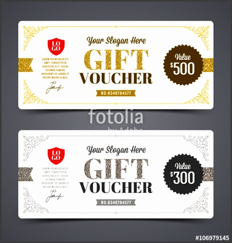 Gift voucher template with glitter gold and silver Vector illustration Design for invitation