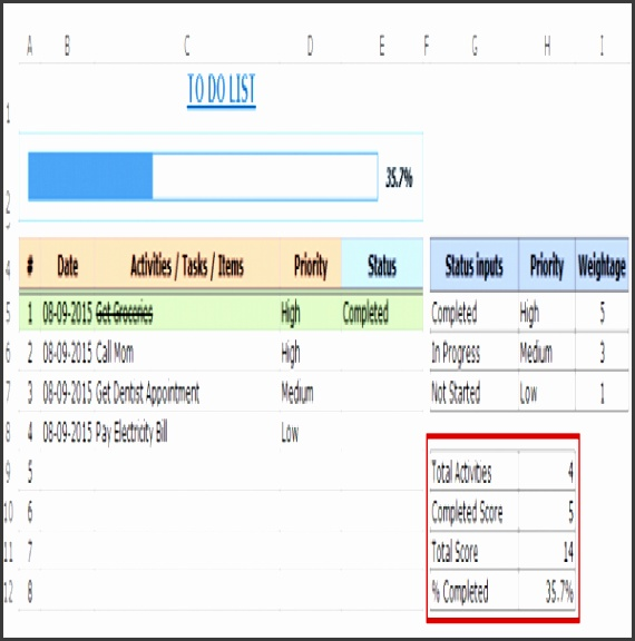 Excel To Do List Template – FREE DOWNLOAD