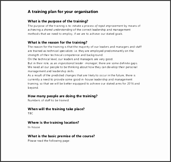 Training Proposal Leadership and Management Training Example