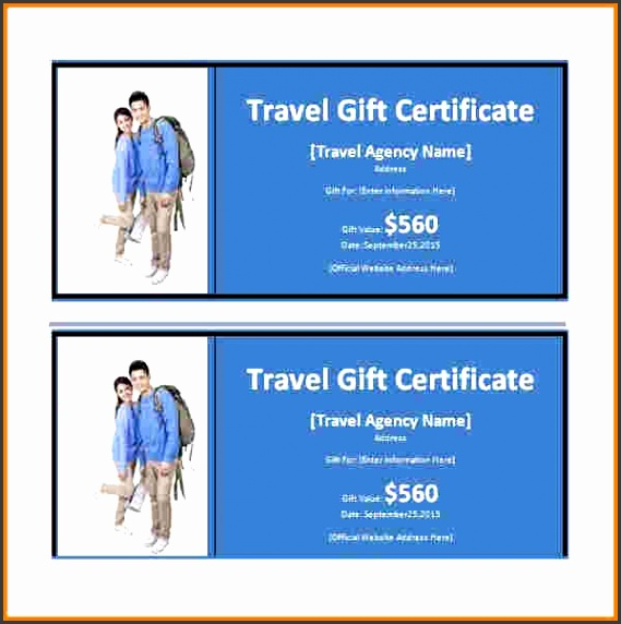 trip certificate template Travel Gift Certificate Word Template Free Download