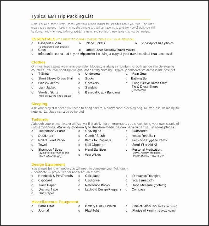Free Trip Packing List Template Download