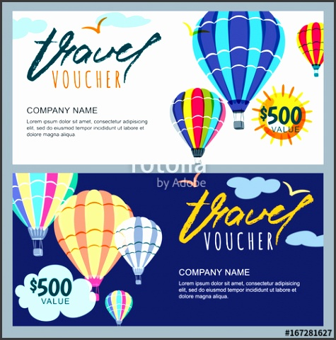 Vector t travel voucher template Multicolor hot air balloons in the sky Concept for