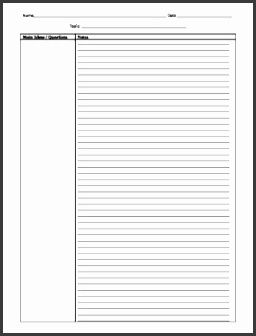 Template Two Column Notes 2 page