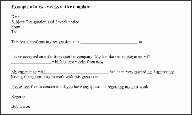 two weeks notice letter template two weeks notice letter template two weeks notice letters resignation letter