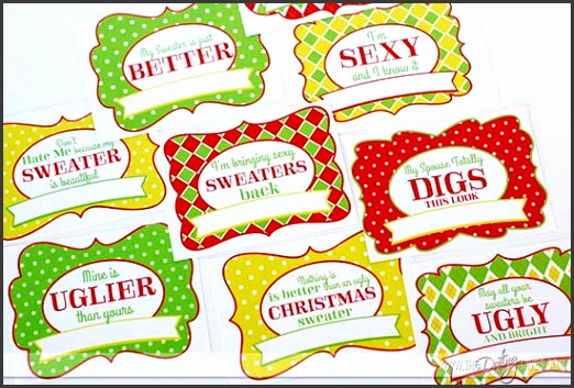 Ugly Sweater Party Name Cards