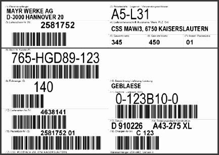 Print pliance labels and industry forms for AIAG Galia GM GTL Odette VDA VDA BeloM DHL FedEx Post TNT UPS EU customs and GS1 transport