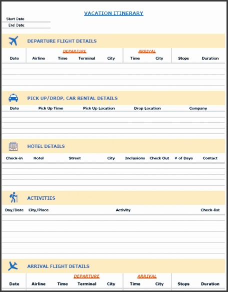 Vacation Itinerary Template Vacation Packing List Image