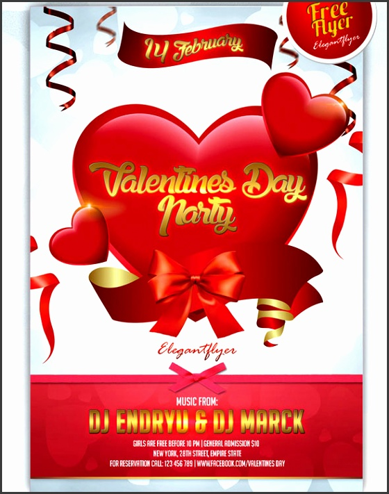 valentines day party club and party free flyer