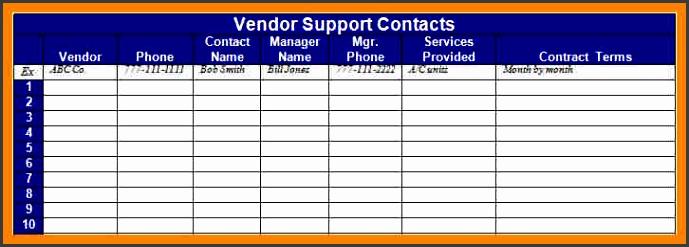 vendor list templatendor contacts