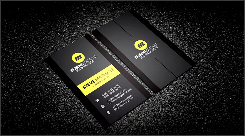 Free Contrasting Yellow Vertical Business Card Template