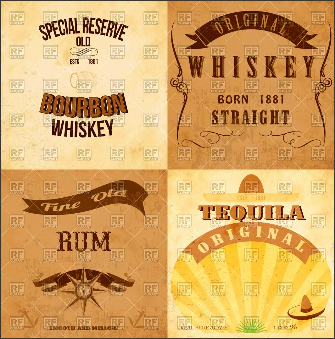 Vintage alcohol labels for rum whiskey and tequila royalty free to Zoom