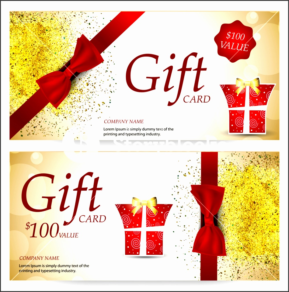 Elegant Sparkling Gift Voucher Coupon or Certificate Design Template with glossy red ribbon Stylish Gift Card Vector illustration