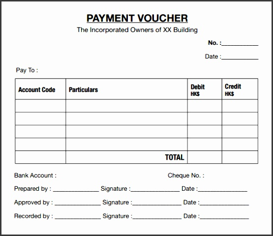 payment voucher format sample