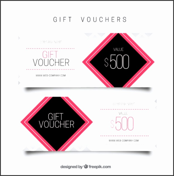 Gift voucher template with pink square Free Vector