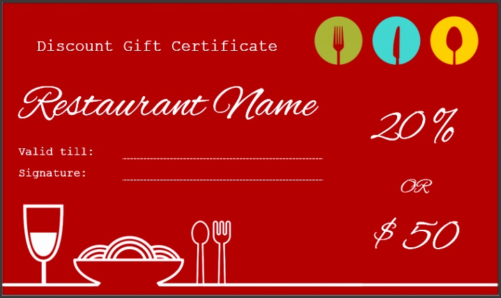 Restaurant t certificate template word