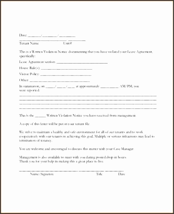 warning letter to tenants Tenant Lease Violation Warning Letter Template