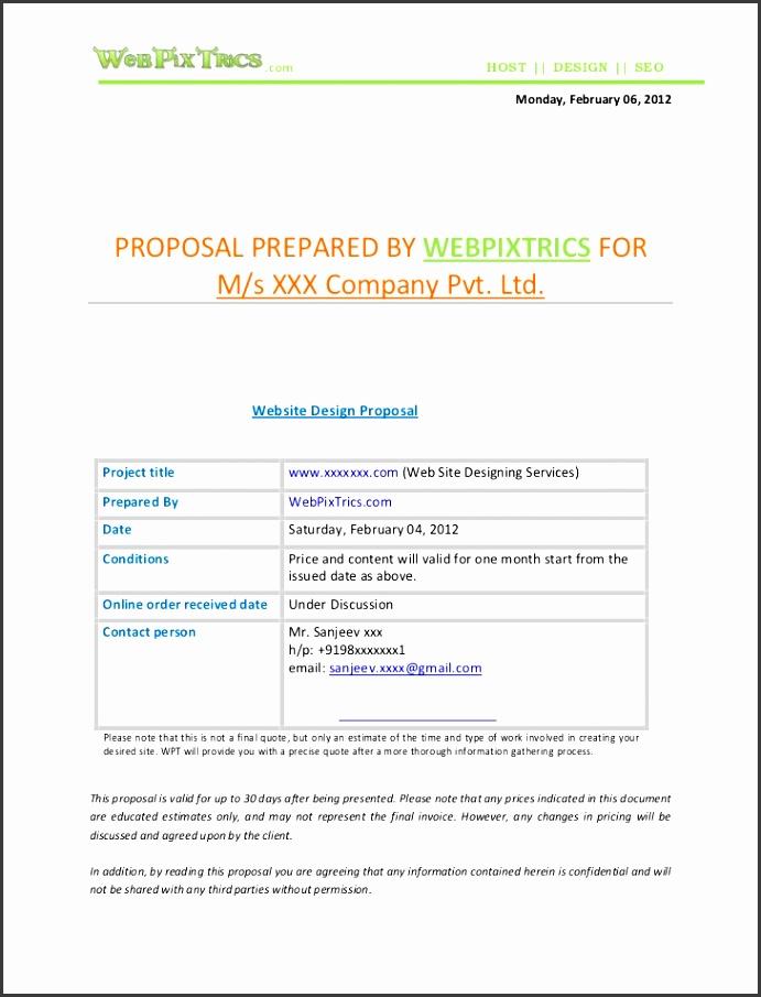 Web design proposal sample