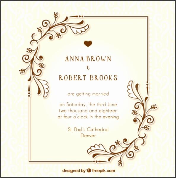 Vintage wedding invitation with floral details Free Vector