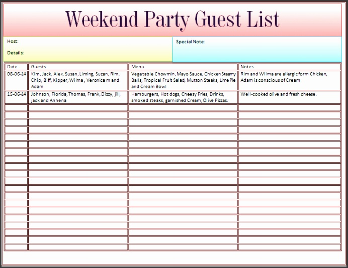 Guest List Template for Wedding or Weekend Party