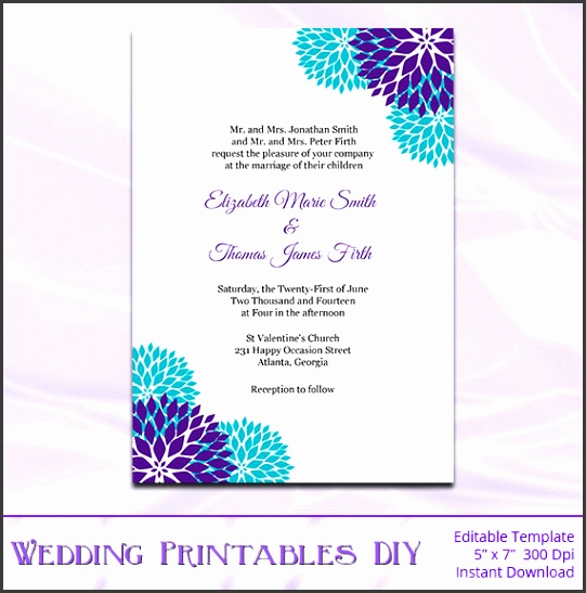 Wedding Invitation Templates Purple And Teal Wedding Invitations To her With A que View Your Wedding