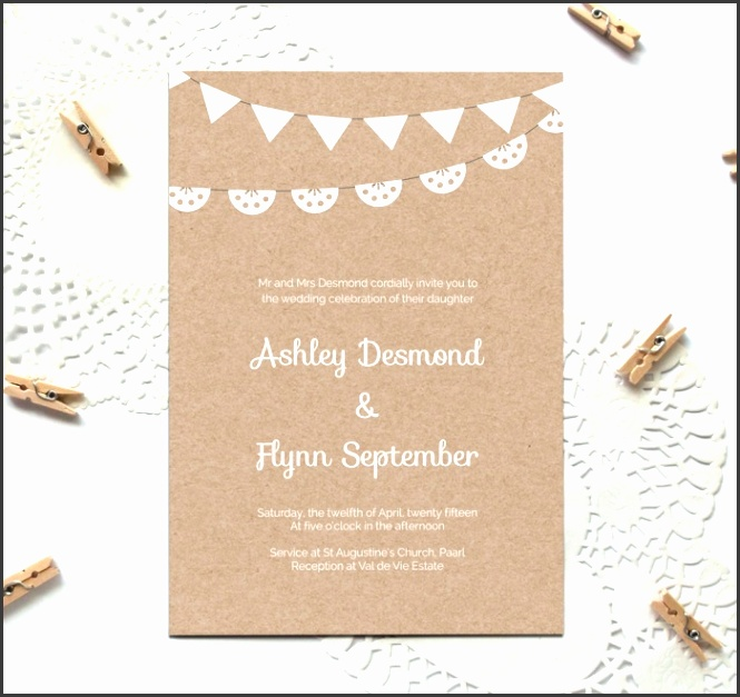 free kraft paper printable wedding invitation template