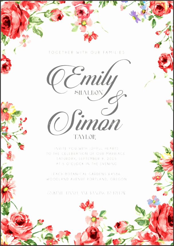 Rustic Floral Wedding Invitations Weddings Cards & Invites 01 Invitation
