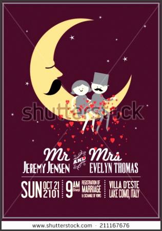 moon wedding invitation card template vector illustration