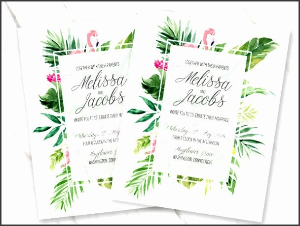 Tropical flamingo wedding invitation template