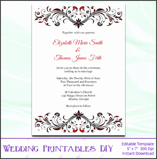 DIY Printable Invitation Templates Red Black and White Wedding invitation template for word