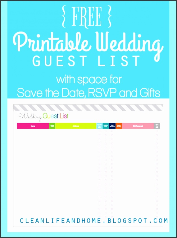 FREE Printable Wedding Guest List and Checklist by Clean Life and Home Includes space to