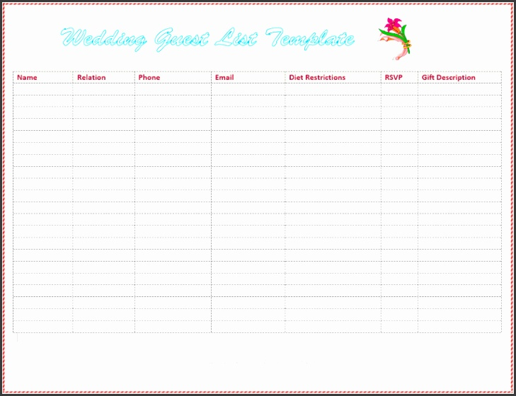 7 Free Wedding Guest List Templates And Managers Rsvp Tracking Template