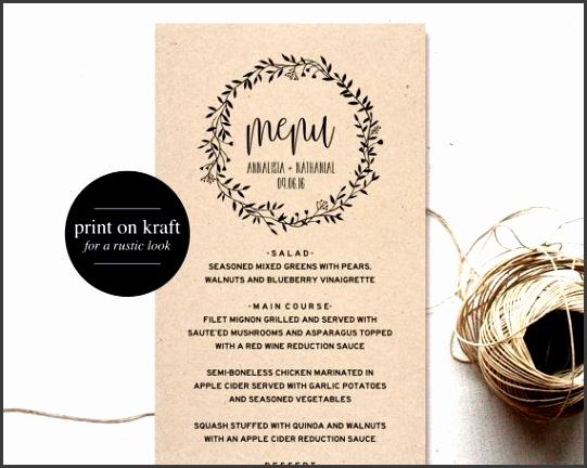 Wedding Menu Template Menu Cards Printable Wedding Menu Menu Template…