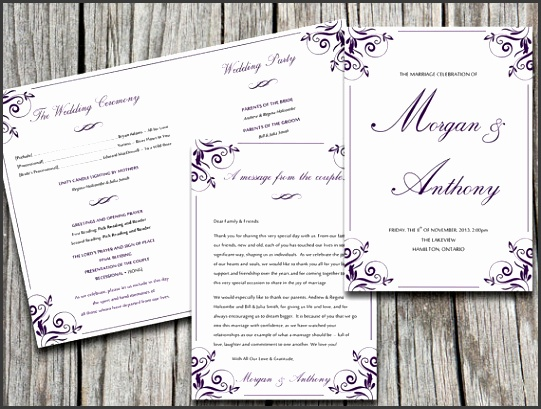 "Fold Over Wedding Program Template Download ""Charlan"" Eggplant Purple 5x7"