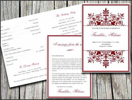 "Snowflake Half Fold ""Regency"" Wedding Program Template Microsoft Word Wedding Program Download"
