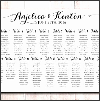 "Wedding Seating Chart Printable Wedding Seating Sign ""Modern Calligraphy"" Wedding Reception Seating"
