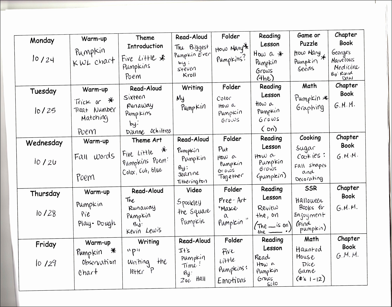 weekly lesson plan for preschool